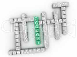 3d image Economy word cloud concept