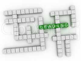3d image Leading word cloud concept