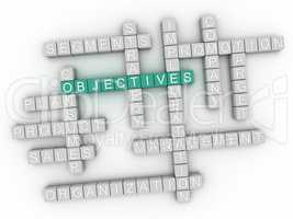 3d image Objectives word cloud concept