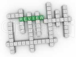 3d image Review word cloud concept