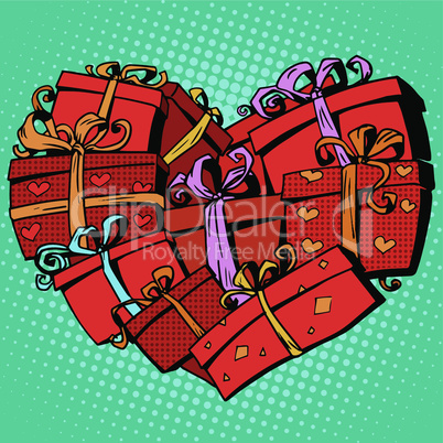 Box gift heart shaped Valentines day