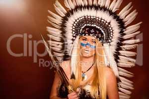 Indianerin mit Speer