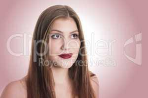 Schöne Frau mit roten Lippen