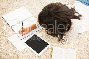 Above view of woman working on floor