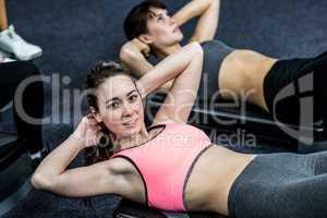 Pretty women working their abs