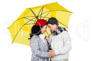 Older asian couple under umbrella