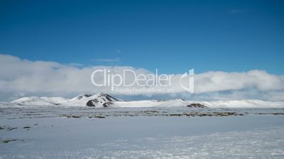 Time lapse of winter mountain landscape in Iceland