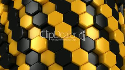 Abstract Background of Yellow and Black Honeycombs