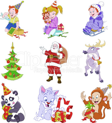 set of isolated funny cartoon Christmas icons