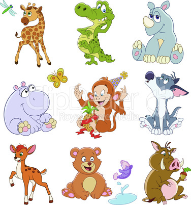 set of isolated funny cartoon african jungle animals
