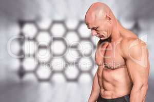 Composite image of side view of sad bald man looking down