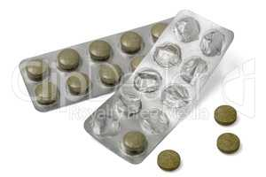 Used  blister pack with pills, isolated on white background, wit