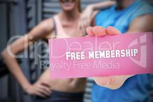 Free membership against people background