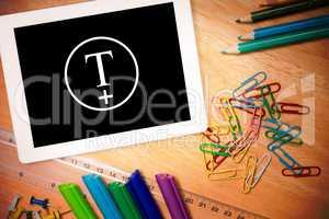 Composite image of t plus circle