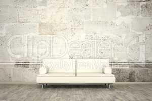photo wall mural stone wall sofa floor