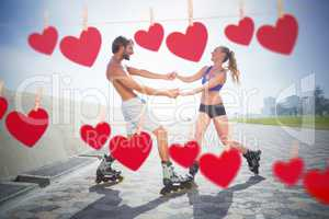 Composite image of fit couple rollerblading together on the prom