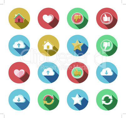 Internet and Web Flat Icons Set