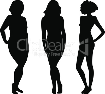 Female silhouettes with different figures