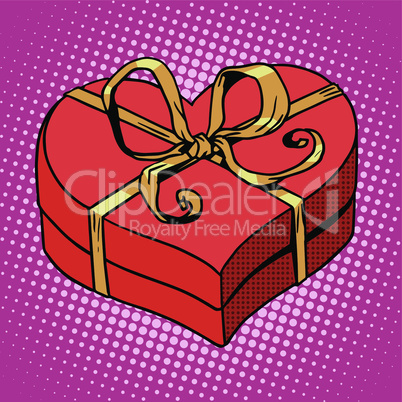 Red gift box in heart shape. Love Valentines day and wedding