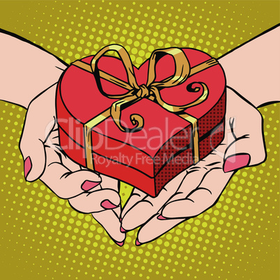 Woman palm shape red heart gift box Valentines day
