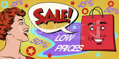 Sales and discounts poster style girl and products