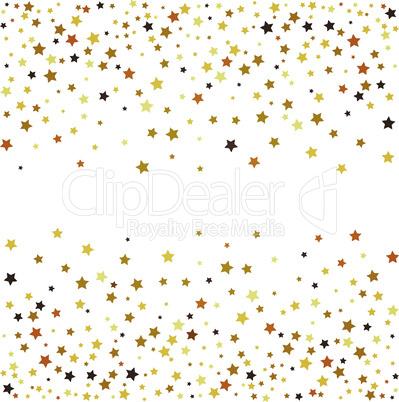 Gold glitter stars on white background. Vector illustration.