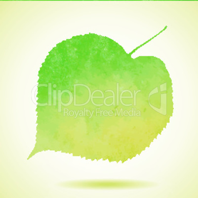 Watercolor linden leaf isolated on white