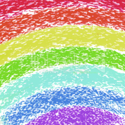 Pastel crayon painted rainbow, vector image