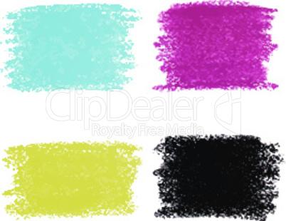 Set of CMYK pastel crayon spots, isolated on white background