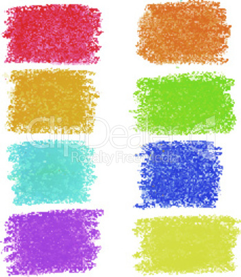 Set of rainbow pastel crayon spots, isolated on white background