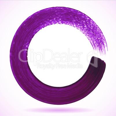 Violet paintbrush circle vector frame