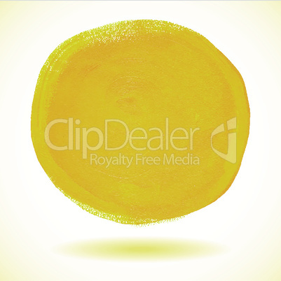 Yellow acrylic paint vector circle