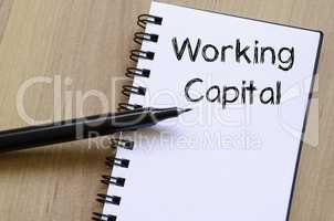 Working capital write on notebook