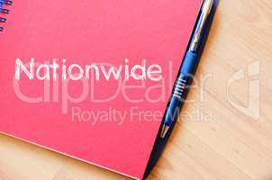 Nationwide write on notebook