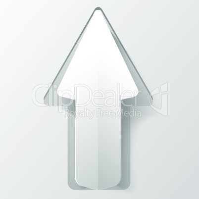 White paper arrow with shadow. Background for your business presentation.