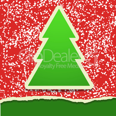 Rip paper card with Christmas tree