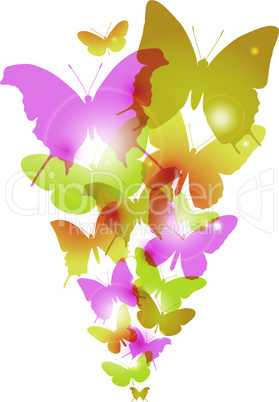 Watercolor butterflies design with flare