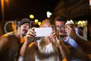 Friends selfie at night