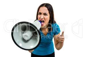 Shouting woman while holding megaphone