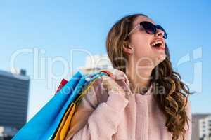 Young girl make shopping laughing
