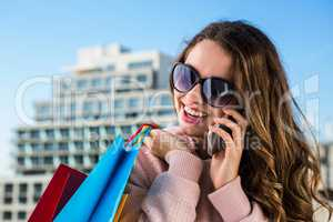 Young girl telephone during shopping