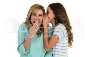 Daughter whispering something