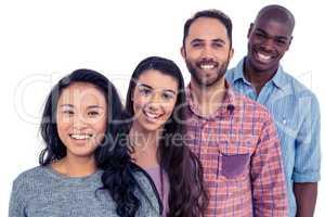 Multi-ethnic friends standing in line
