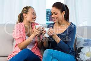 Friends having tea on sofa