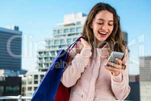 Young girl using her phone