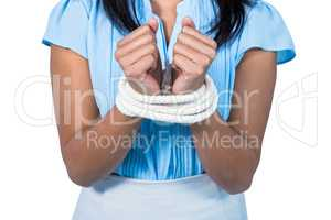 businesswoman being tied up