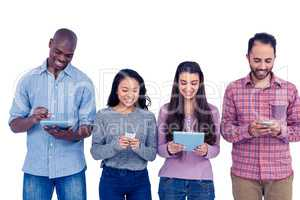 Multi-ethnic friends using technologies