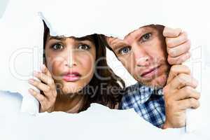 Portrait of fearful couple