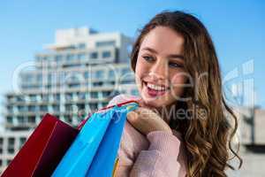 Young girl make some shopping