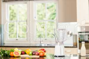 Kitchen with mixer and fruit on counter